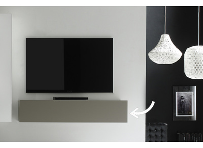 COLORED V2 Modern Matte Taupe Grey Horizontal TV Wall Unit