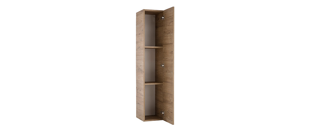 COLORED V2Modern Honey Wood Vertical TV Wall Unit