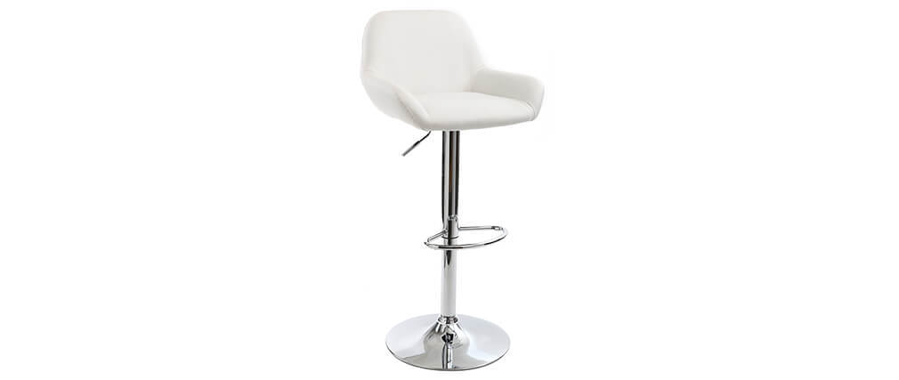 CYRUS set of 2 white polyurethane designer bar stools