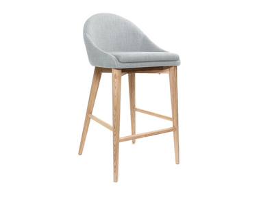 DALIA designer bar stool in wood and light grey polyester 65cm