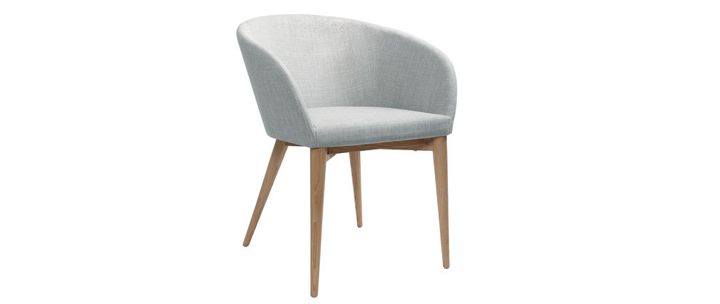 DALIA Scandinavian light grey and wooden armchair