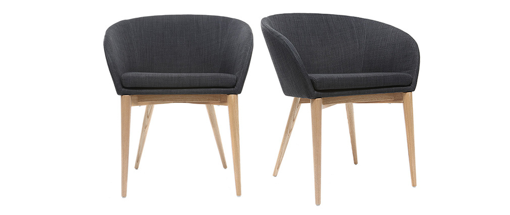 DALIA set of 2 grey designer armchairs