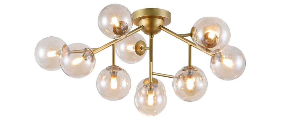 DALLAS designer gold metal and smoked glass chandelier
