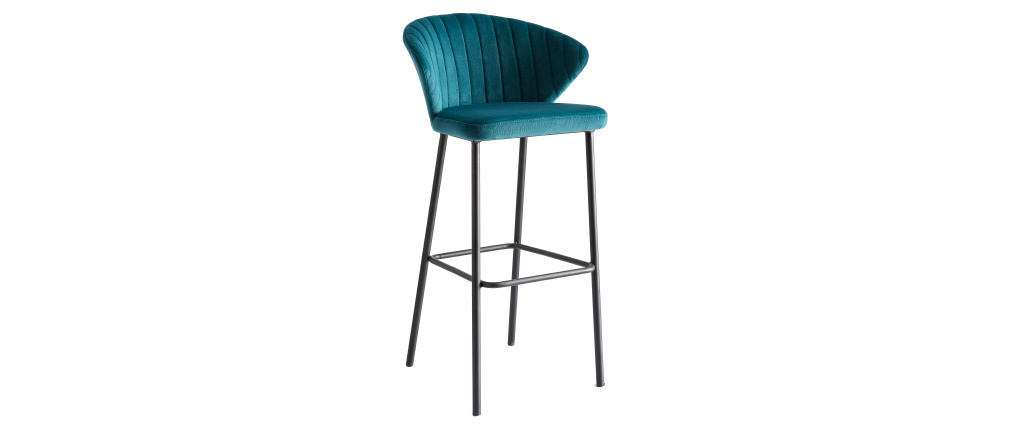 DALLY designer bar stool in petrol blue velvet 75cm