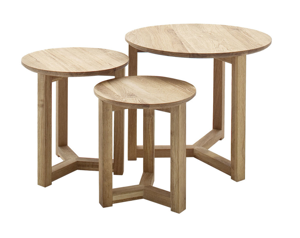 DANAKIL set of 3 round solid oak nesting tables