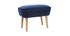Dark blue velvet footstool ZOLA