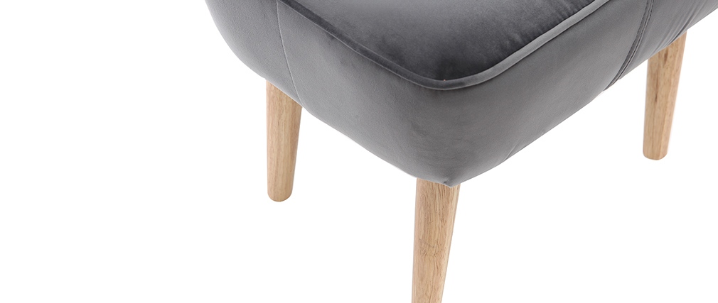 Dark grey velvet footstool ZOLA