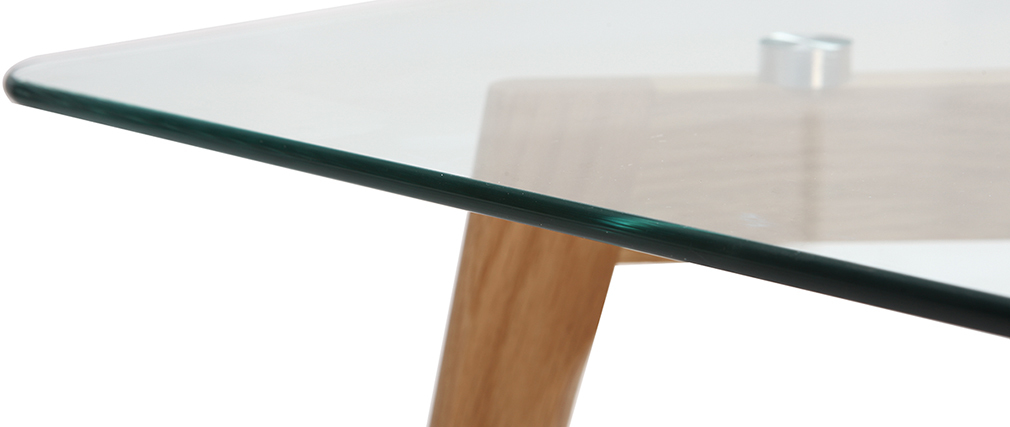 DAVOS contemporary designer glass and oak coffee table