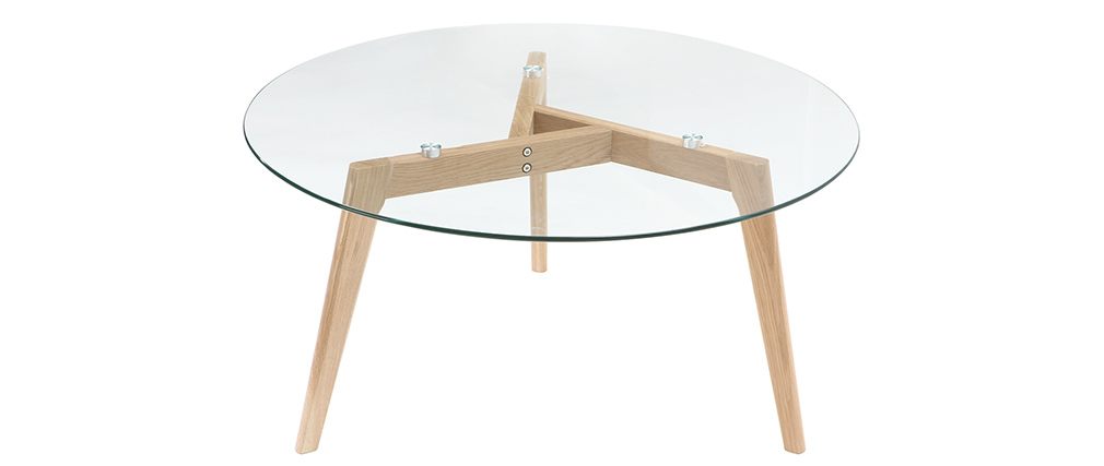 DAVOS contemporary glass and wood round coffee table