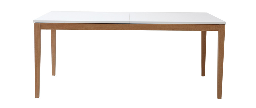 DELAH white Modern Extending Dining Table Wooden Legs L180-260