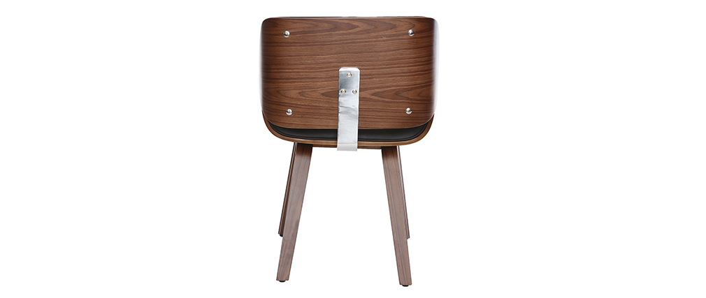 Designer black and dark wood chair RUBBENS