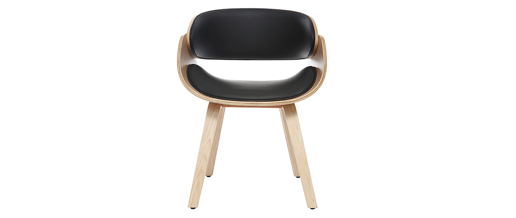 Designer black and light wooden chair BENT