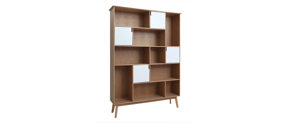 Designer INGRID oak bookcase with white doors