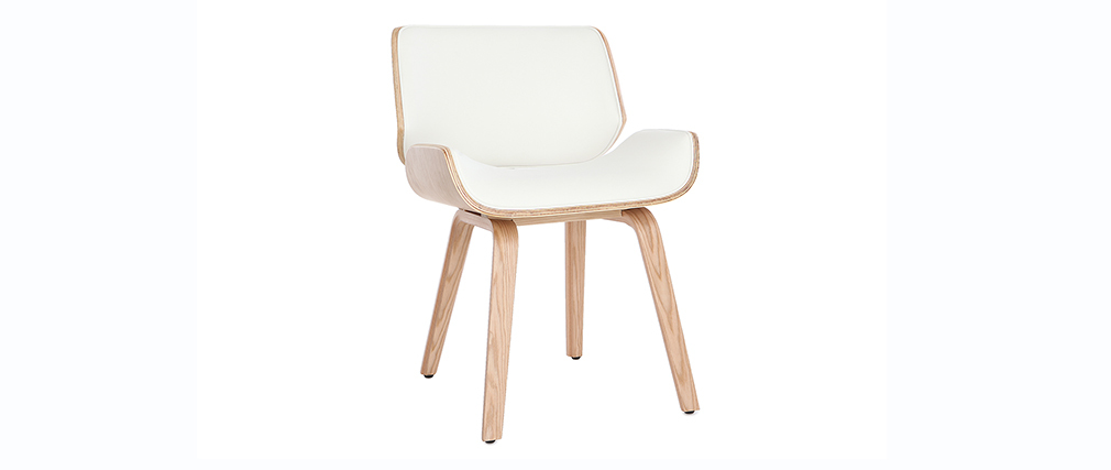 Designer white and light wood chair RUBBENS