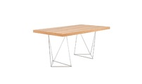 Desk design Oak and chrome legs LEPPIEN