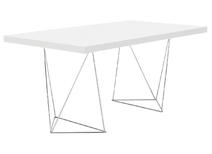 Desk design White mast and chrome legs LEPPIEN