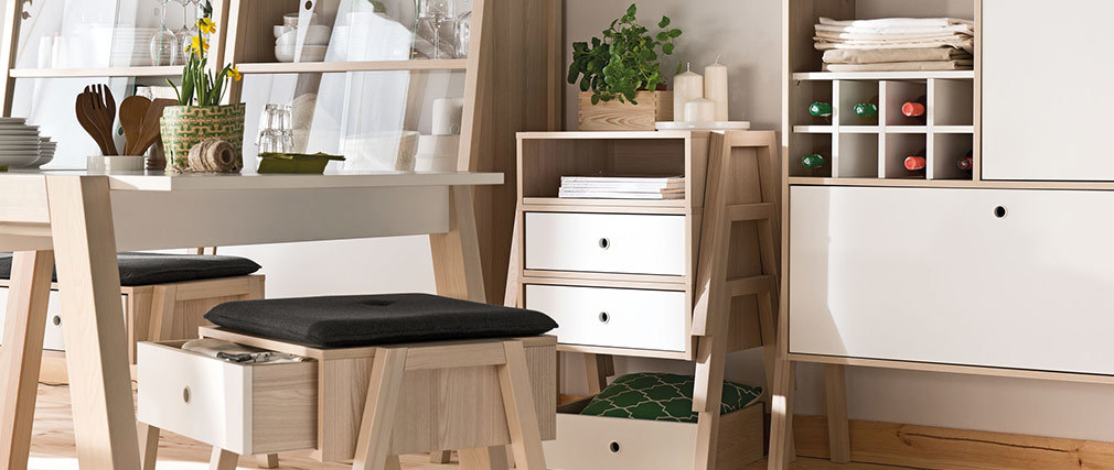 EASY designer white and wooden bedside table