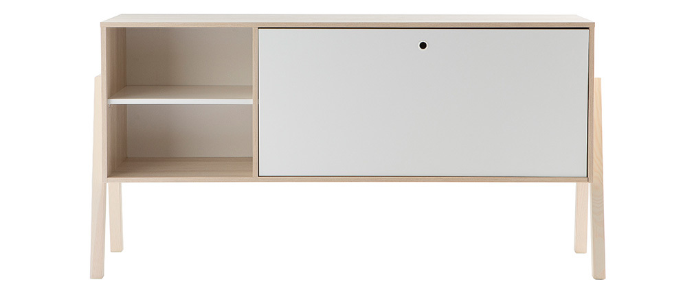 EASY designer white and wooden sideboard with 1 door and 2 drawers