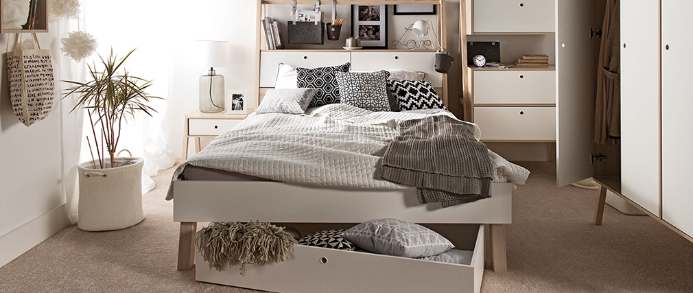 EASY white and wooden designer bed with storage 160 x 200cm