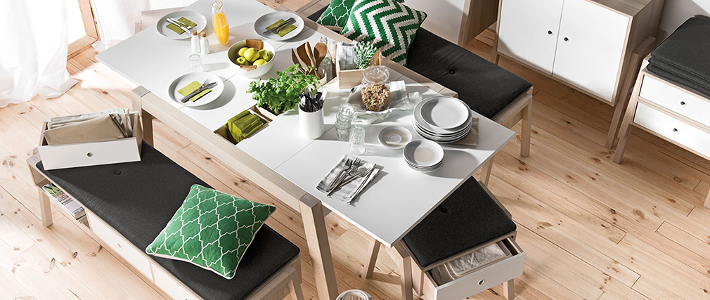 EASY white extending dining table with storage L150-200
