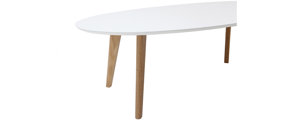 EKKA White Modern Oval Coffee Table 120cm