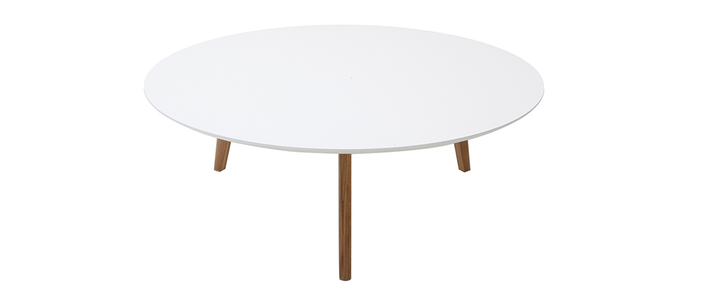 EKKA White Modern Round Coffee Table 100cm