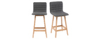 EMMA set of 2 65cm wooden and dark grey designer bar stools