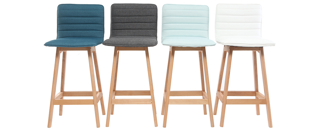 EMMA set of 2 65cm wooden and white PU designer bar stools