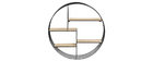ENSO designer round metal and wooden wall shelves