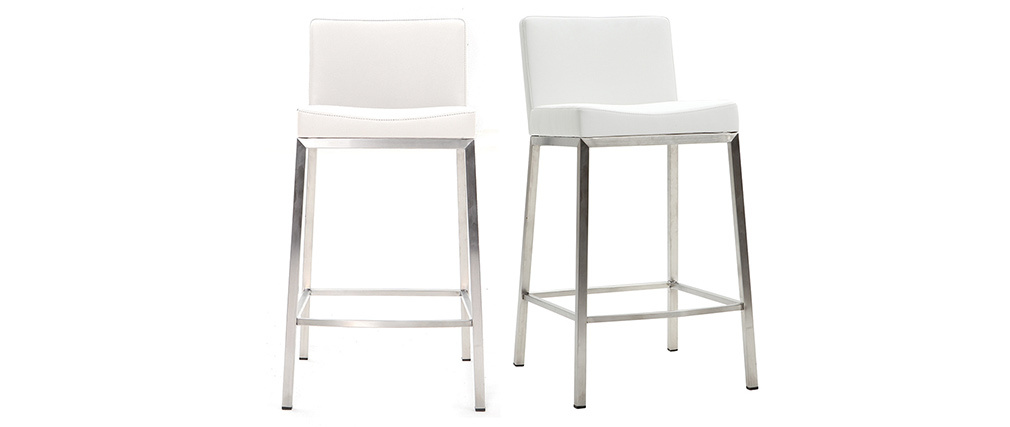 EPSILON set of 2 designer white stools 66cm