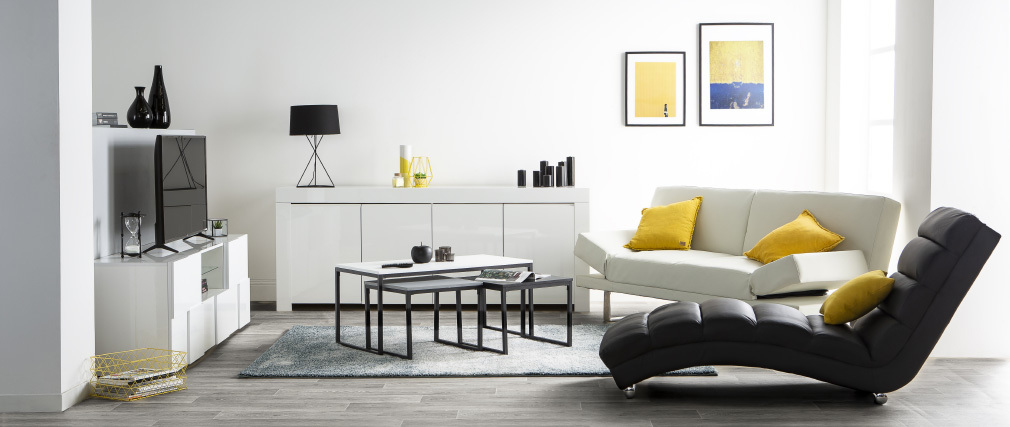 ERIA Modern White Lacquer 4 Door Sideboard