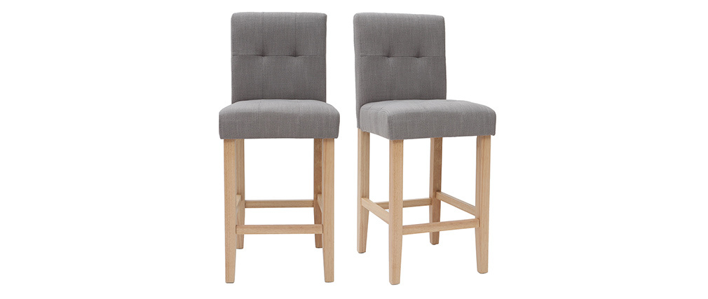 ESTER set of 2 designer quilted light grey and wood 65cm bar stools