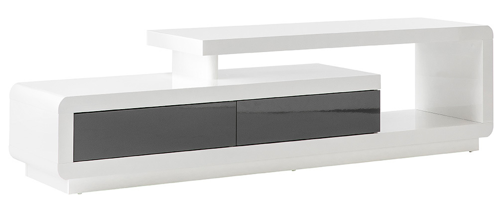 ETANA designer white lacquered TV stand with grey drawers
