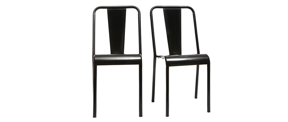 EVAN set of 2 designer black metal chairs