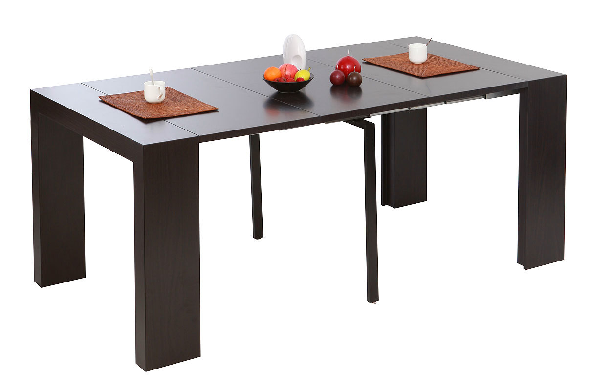extendable dining console table caleb chocolate miliboo. Black Bedroom Furniture Sets. Home Design Ideas
