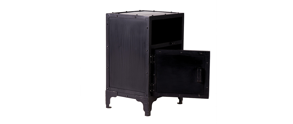 FACTORY Black Metal Industrial Bedside Table (120cm)