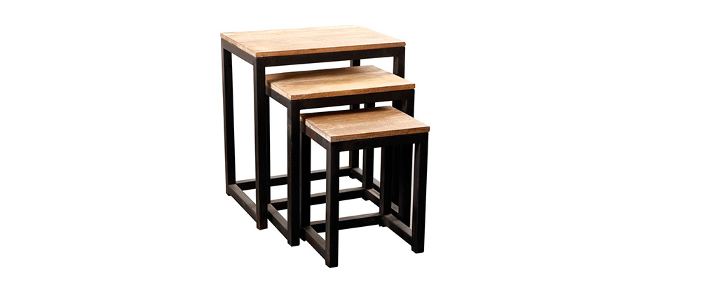 FACTORY Industrial Metal and Wood Nesting Tables