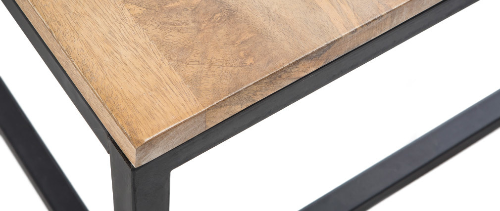 FACTORY Wood and Metal Industrial Coffee Table