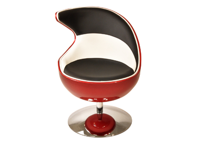 FLAME designer retro chair in red, black and white