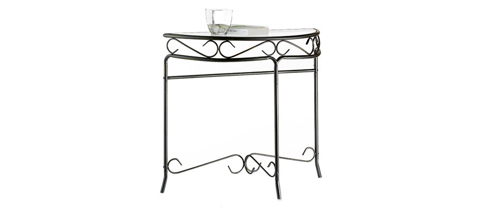 FLORENCE Steel and Tempered Glass Console Table