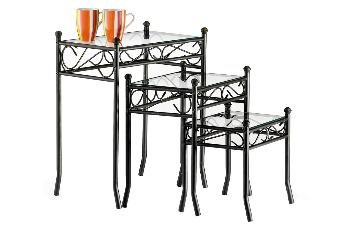 FLORENCE Steel and Tempered Glass Side Tables