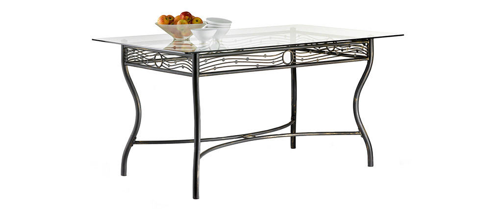 FLORENCE Tempered Glass and Steel Rectangular Dining Table D153