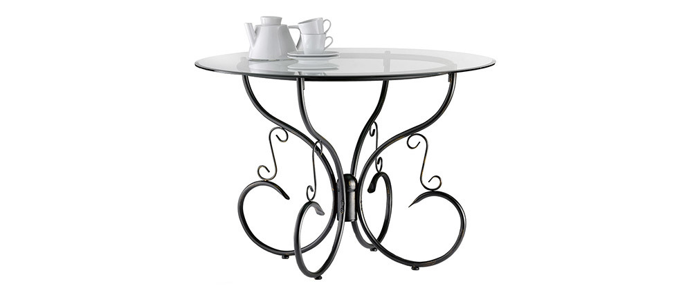 FLORENCE Tempered Glass and Steel Round Kitchen/Dining Table