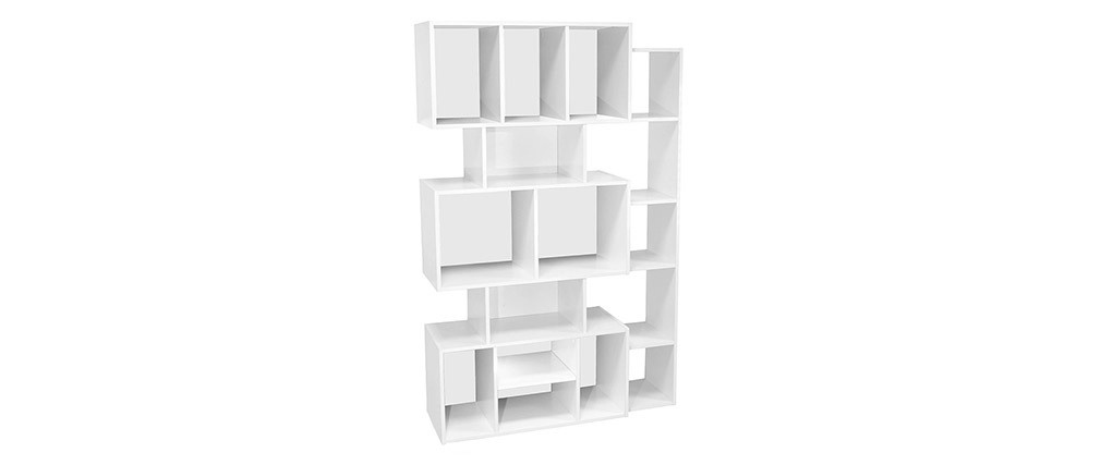 FOLCO designer white bookcase with black or white backboard