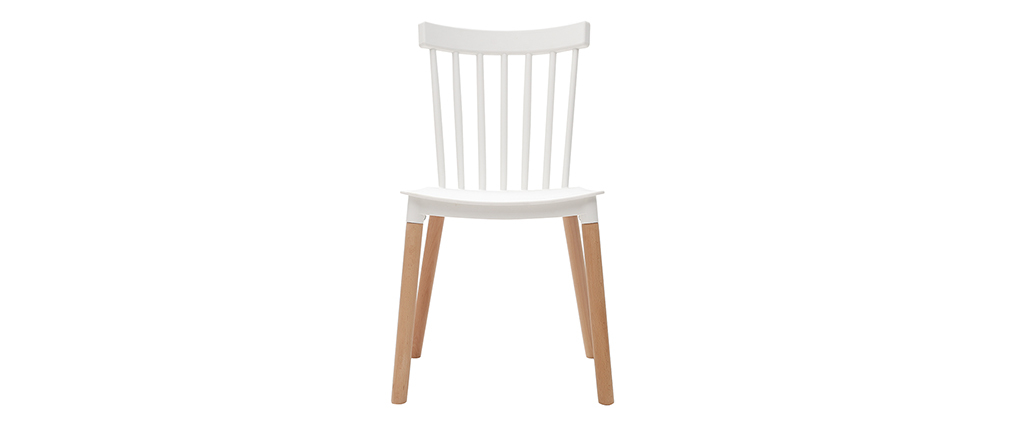 GAMBO set of 2 designer white and wooden chairs