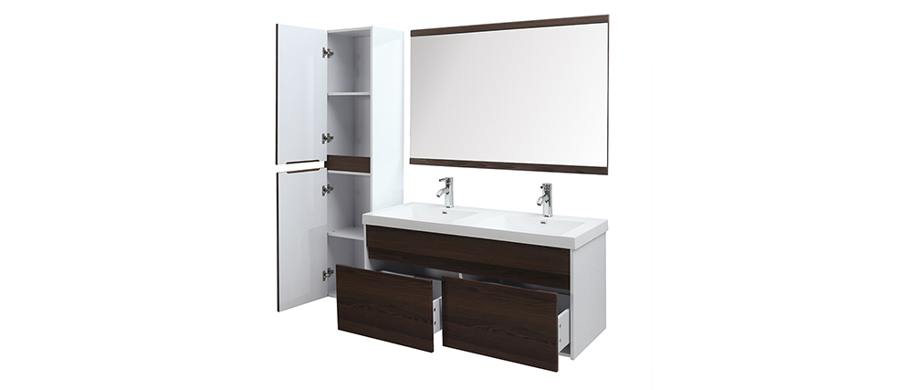 GANFO bathroom unit set with double basin, mirror and storage in white and dark wood