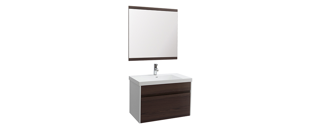 GANFO bathroom unit with basin, mirror and storage in white and dark wood
