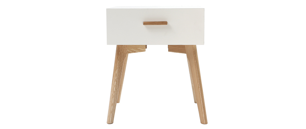 GILDA oak and white bedside table