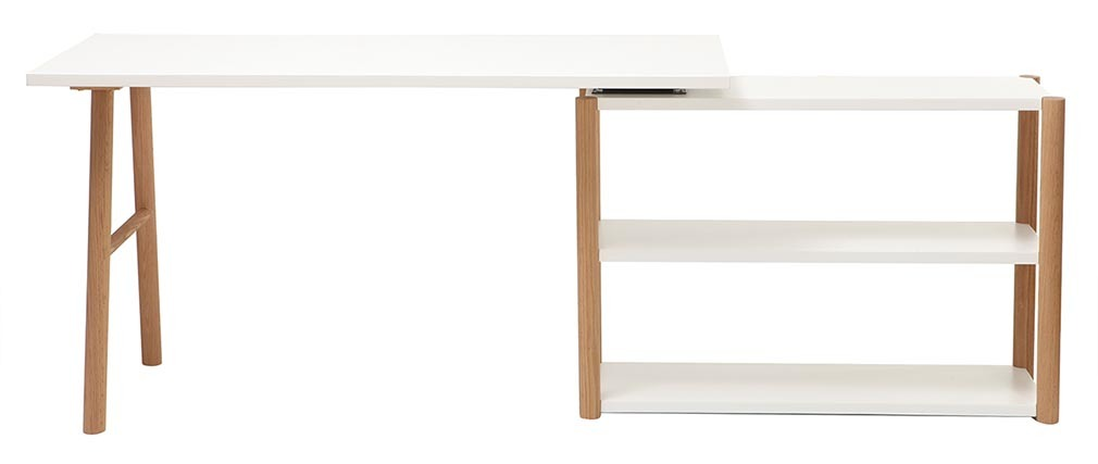 GILDA Scandinavian designer white and oak pivoting desk