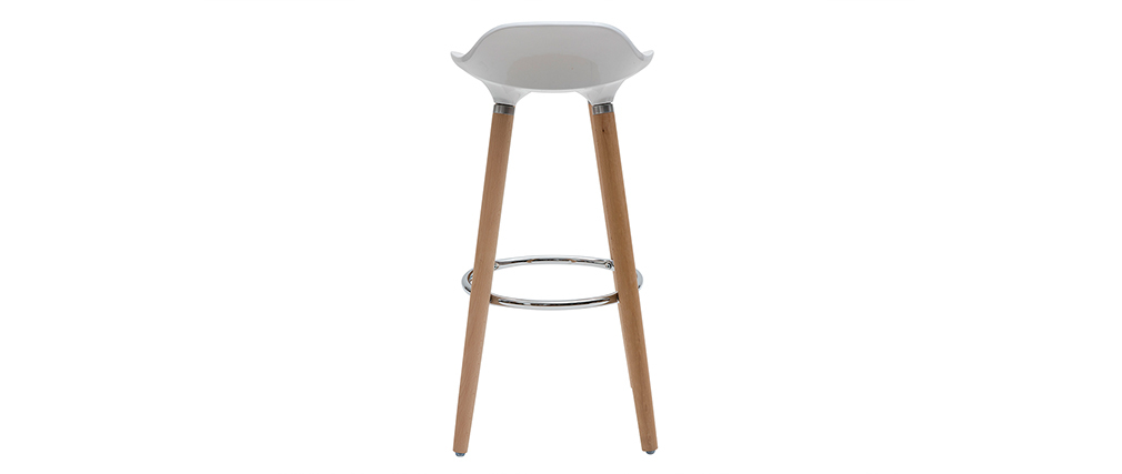GILDA White Bar Stool Wood Legs (set of 2)